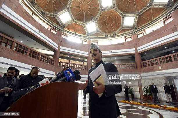 Leader of Opposition in Rajya Sabha Congress leader Ghulam Nabi Azad addresses media persons after attending the all party meeting on the eve of the...