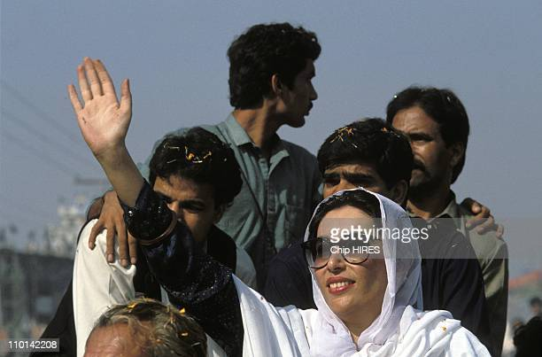 Leader of Pakistan People's Party Benazir Bhutto on election campaign in PunjabPakistan on November 14 1988
