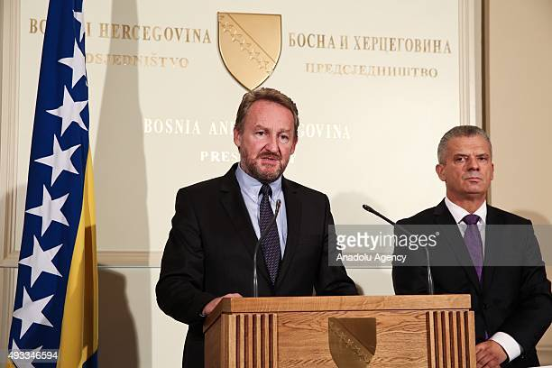 Leader of Party of Democratic Action Bakir Izetbegovic delivers a speech during a press conference after he signed a coalition agreement with Leader...