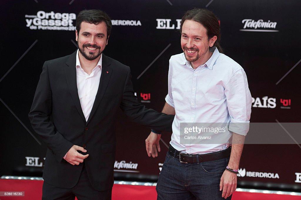 Leader of party Podemos Pablo Iglesias (R) and leader of party Izquierda Unida Alberto Garzon (L) attend 'Ortega Y Gasset' journalism awards 2016 at Palacio de Cibeles on May 05, 2016 in Madrid, Spain.