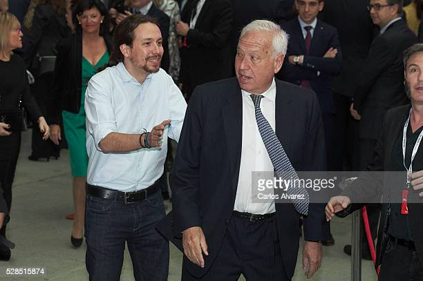 Leader of party Podemos Pablo Iglesias and Spanish Foreign Minister Jose Manuel Garcia Margallo attend 'Ortega Y Gasset' journalism awards 2016 at...