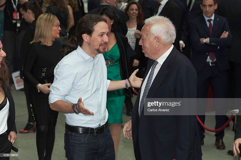 Leader of party Podemos Pablo Iglesias (L) and Spanish Foreign Minister Jose Manuel Garcia Margallo (R) attend 'Ortega Y Gasset' journalism awards 2016 at Palacio de Cibeles on May 05, 2016 in Madrid, Spain.