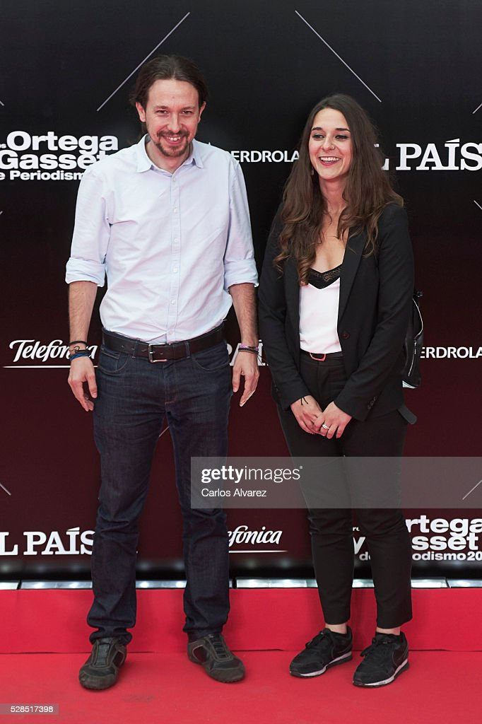 Leader of party Podemos Pablo Iglesias attends 'Ortega Y Gasset' journalism awards 2016 at Palacio de Cibeles on May 05, 2016 in Madrid, Spain.
