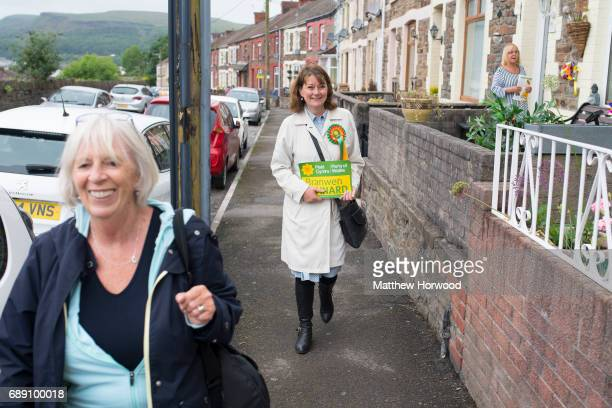 Leader of Plaid Cymru Leanne Wood campaigning in Rhondda Cynon Taf on behalf of candidate Branwen Cennard on May 27 2017 in Porth Wales A general...