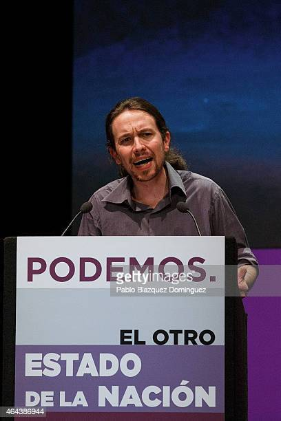 Leader of Podemos Pablo Iglesias speaks during a conference called 'The other state of the nation' at the Fernando de Rojas theatre in the Circulo de...