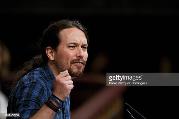 Leader of Podemos party Pablo Iglesias speaks during the final day of the investiture debate at the Spanish Parliament on October 29 2016 in Madrid...