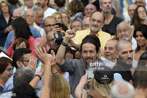 Leader of Podemos political party Pablo Iglesias arrives at a campaign meeting of 'Catalunya Si que es Pot' for the upcoming Catalan regional...