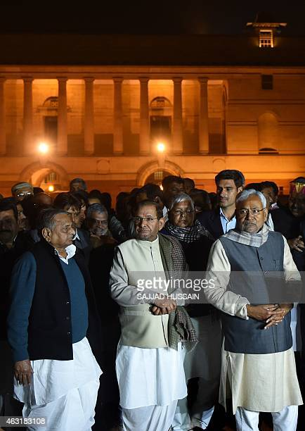 Leader of regional political party Janata DalUnited Nitish Kumar arrives with other leaders of ally parties Mulayam Singh Yadav Sharad Yadav and Lalu...