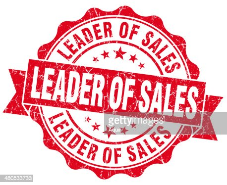 Leader of sales grunge red vintage round isolated seal : Stock Photo
