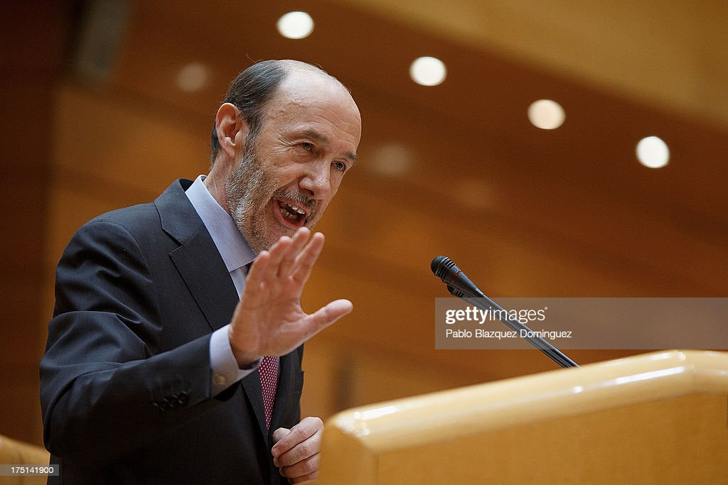 Leader of Spain's Socialist Party (PSOE) <a gi-track='captionPersonalityLinkClicked' href=/galleries/search?phrase=Alfredo+Perez+Rubalcaba&family=editorial&specificpeople=692536 ng-click='$event.stopPropagation()'>Alfredo Perez Rubalcaba</a> speaks during a parliament session over allegations on corruption scandals addressed by Spanish Prime Minister Mariano Rajoy on August 1, 2013 in Madrid, Spain. Rajoy admitted he made a mistake in trusting his former party treasurer Luis Barcenas but denied doing anything wrong himself.