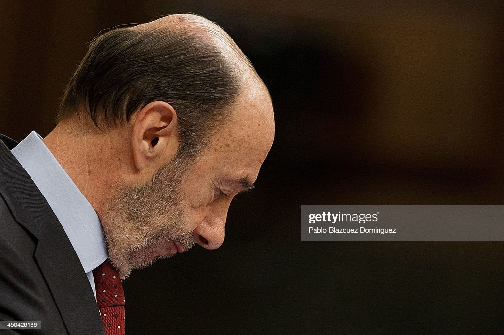 Leader of Spain's Socialist Party (PSOE) <a gi-track='captionPersonalityLinkClicked' href=/galleries/search?phrase=Alfredo+Perez+Rubalcaba&family=editorial&specificpeople=692536 ng-click='$event.stopPropagation()'>Alfredo Perez Rubalcaba</a> speaks during a debate about a new law that would allow the abdication of King Juan Carlos of Spain at Parliament on June 11, 2014 in Madrid, Spain. Since King Juan Carlos of Spain announced his decision to abdicate on June 2, multiple demonstrations have taken place within the country and even abroad calling for a referendum to decide whether the country should be a Monarchy or Republic. Today Spain's Parliament will debate and vote on a new law that would allow the abdication of King Juan Carlos of Spain and the coronation of his 46-year-old son Prince Felipe of Spain.