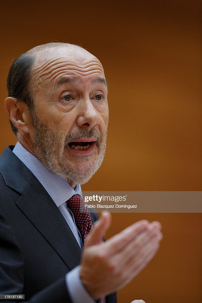 Leader of Spain's Socialist Party (PSOE) <a gi-track='captionPersonalityLinkClicked' href=/galleries/search?phrase=Alfredo+Perez+Rubalcaba&family=editorial&specificpeople=692536 ng-click='$event.stopPropagation()'>Alfredo Perez Rubalcaba</a> speaks during parliament session over allegations on corruption scandals addressed by Spanish Prime Minister Mariano Rajoy on August 1, 2013 in Madrid, Spain. Rajoy admitted he made a mistake in trusting his former party treasurer Luis Barcenas but denied doing anything wrong himself.