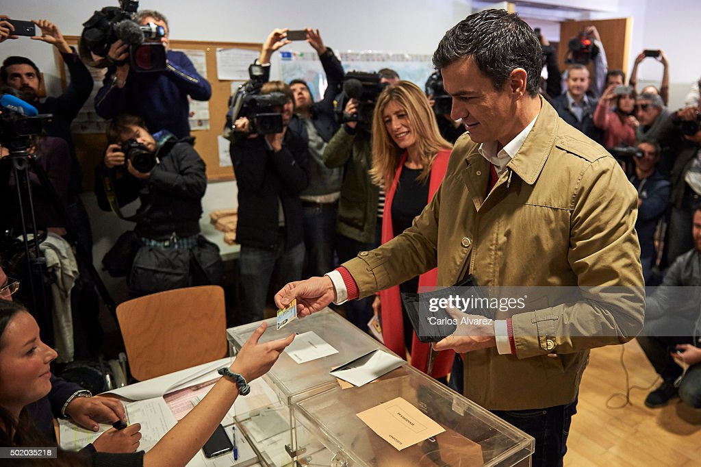 Leader of Spain's Socialist Party (PSOE) and candidate for general elections Pedro Sanchez and his wife Begona Fernandez cast their votes during General Elections at a polling station on December 20, 2015 in Madrid, Spain. Spaniards went to the polls today to vote for 350 members of the parliament and 208 senators. For the first time since 1982, the two traditional Spanish political parties, right-wing Partido Popular (People's Party) and centre-left wing Partido Socialista Obrero Espanol PSOE (Spanish Socialist Workers' Party), held a tight election race with two new contenders, Ciudadanos (Citizens) and Podemos (We Can) attracting right-leaning and left-leaning voters respectively.