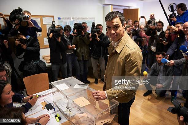 Leader of Spain's Socialist Party and candidate for general elections Pedro Sanchez casts his vote during General Elections at a polling station on...