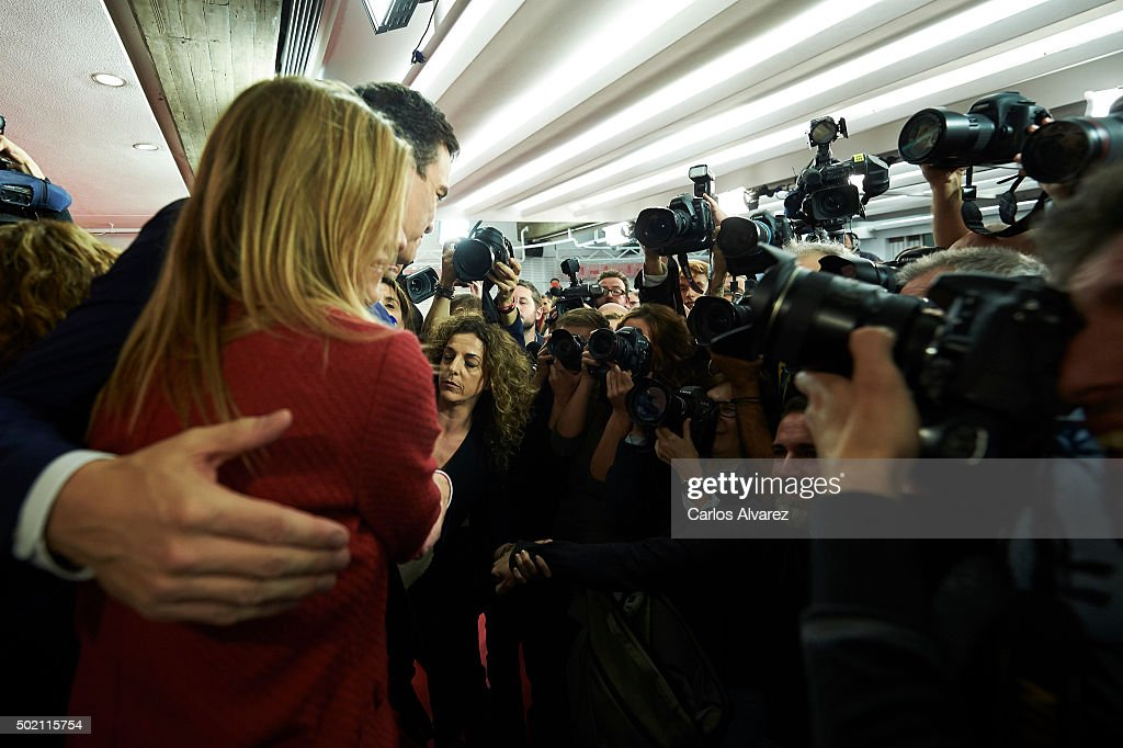 Leader of Spain's Socialist Party (PSOE) and candidate for general elections Pedro Sanchez and his wife Begona Fernandez greet supporters after the first results of the general election were announced on November 20, 2015 at PSOE's headquarters in Madrid. Spaniards went to the polls today to vote for 350 members of the parliament and 208 senators. For the first time since 1982, the two traditional Spanish political parties, right-wing Partido Popular (People's Party) and centre-left wing Partido Socialista Obrero Espanol PSOE (Spanish Socialist Workers' Party), held a tight election race with two new contenders, Ciudadanos (Citizens) and Podemos (We Can) attracting right-leaning and left-leaning voters respectively.