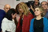 Leader of Spain's Socialist Party and candidate for general elections Pedro Sanchez wife's Begona Fernandez and members of Spain's Socialist Party...
