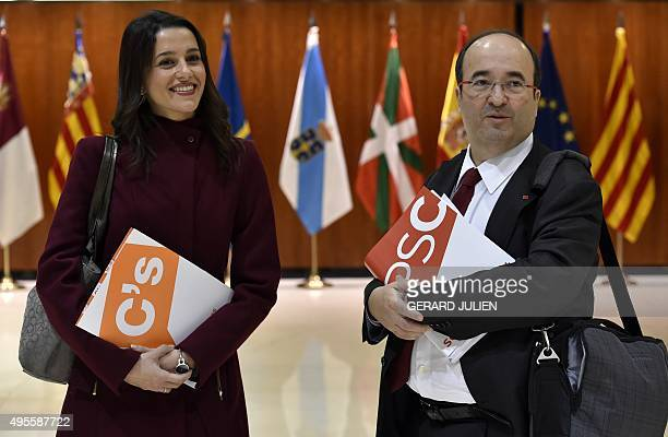Leader of Spanish political party Ciudadanos Ines Arrimadas Garcia and first secretary of PSC Miquel Iceta Llorens wait prior to asking Spain's...