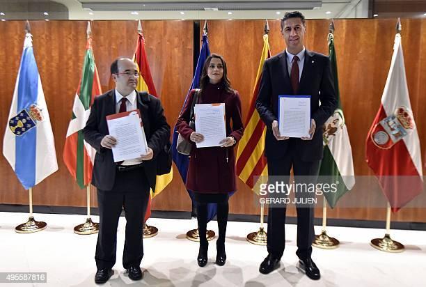 Leader of Spanish political party Ciudadanos Ines Arrimadas Garcia first secretary of PSC Miquel Iceta Llorens and leader of PPC Xavier Garcia Albiol...