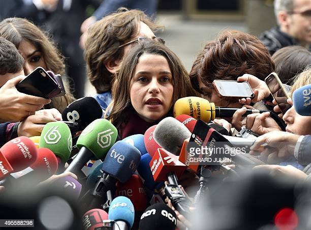 Leader of Spanish political party Ciudadanos Ines Arrimadas Garcia speaks to media after they she asked Spain's Constitutional court to stop the...