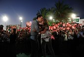 Leader of Spanish Socialist Party and party candidate Pedro Sanchez kisses President of the regional Government of Andalucia Susana Diaz during the...