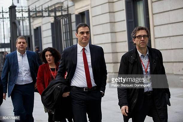 Leader of Spanish Socialist Party party Pedro Sanchez arrives to the inaugural meeting of the eleventh legislature of the Congress of Deputies at the...
