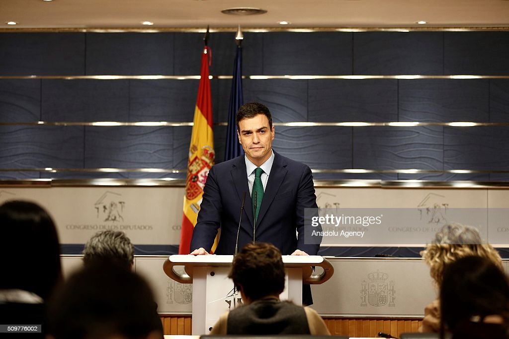 Leader of Spanish Socialist Party (PSOE) Pedro Sanchez speaks during a press conference following his meeting with Spain's acting Prime Minister Mariano Rajoy (not seen) at the Spanish parliament in Madrid on February 12, 2016.