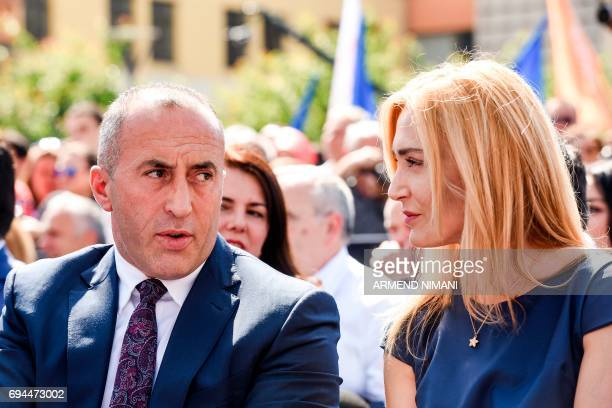 Leader of the Alliance for the Future of Kosovo and parliamentary elections candidate for prime minister Ramush Haradinaj and his wife Anita attend a...