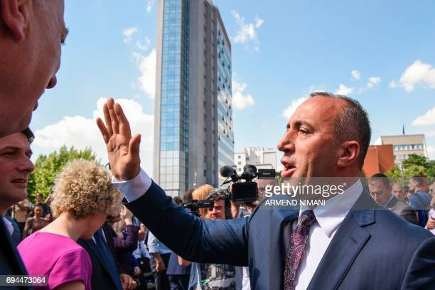 Leader of the Alliance for the Future of Kosovo and parliamentary elections candidate for prime minister Ramush Haradinaj attends a campaign rally in...