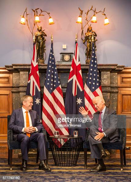 Leader of the Australian Labor Party Bill Shorten meets with US VicePresident Joe Biden at the InterContinental Hotel on July 19 2016 in Sydney...