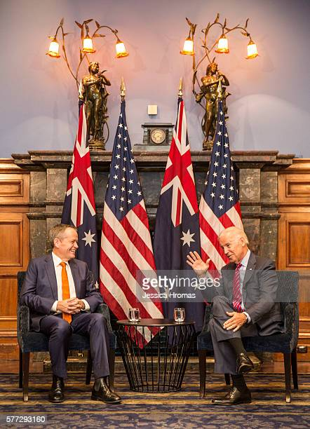 Leader of the Australian Labor Party Bill Shorten meets with US VicePresident Joe Biden at the InterContinental Hotel on July 19 2016 in Sydney...