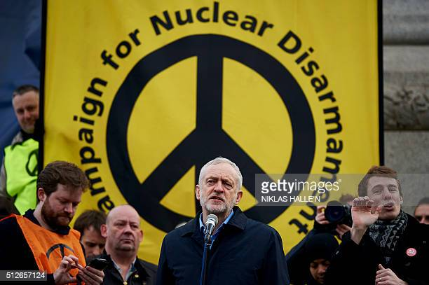 Leader of the British opposition Labour Party Jeremy Corbyn gives a speech during a rally against a proposed renewal of Britain's Trident nuclear...