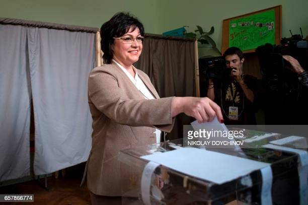 Leader of the Bulgarian Socialist party Kornelia Ninova casts her ballot at a polling station in Sofia on March 26 during the country's parliamentary...
