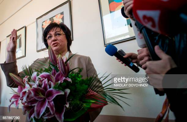Leader of the Bulgarian Socialist party Kornelia Ninova speaks to journalists at a polling station in Sofia on March 26 during the country's...