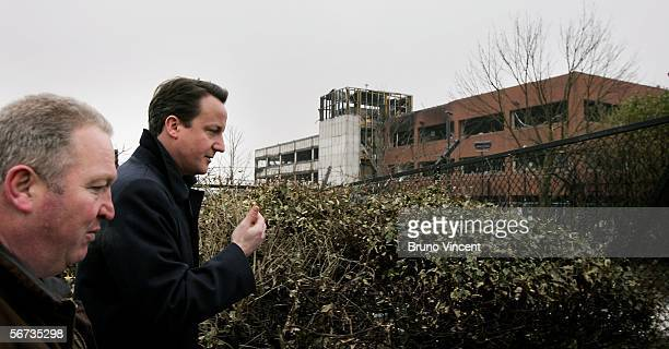 Leader of the Conserative Party David Cameron is shown around the area surrounding Buncefield oil depot by Mike Penning MP for Hemel Hempstead on...
