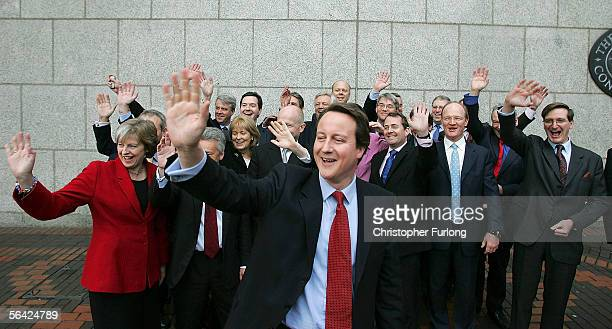 Leader of the Conservative Party David Cameron and his shadow cabinet pose for photographers before they have their first meeting at The...