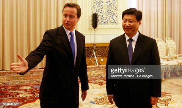 Leader of the Conservative Party David Cameron meets Senior leader Xi Jinping Senior 5th generation leader of Politbureau Standing committee and...