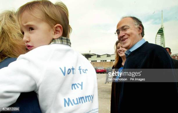 Leader of the Conservative party Michael Howard meets Edward Dinenage son of Conservative candidate Caroline Dinenage