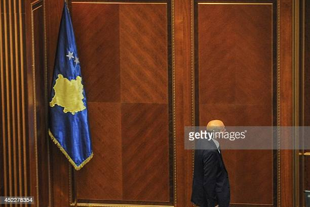 Leader of the Democratic League of Kosovo Isa Mustafa arrives to address members of parliament after his election as President of the Parliament in...