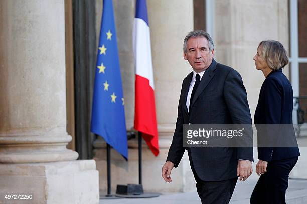 Leader of the Democratic Movement and Mayor of Pau Francois Bayrou arrives at the Elysee Presidential Palace for a meeting with the French President...