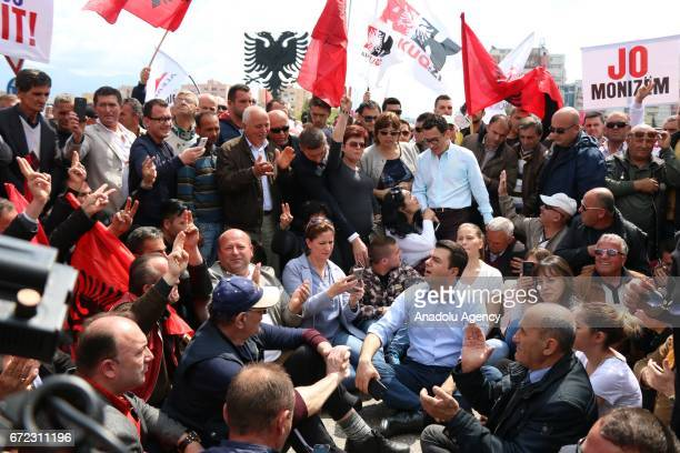 Leader of the Democratic Party of Albania Lulzim Basha attends an unauthorized demonstration in Tirana Albania on April 24 2017