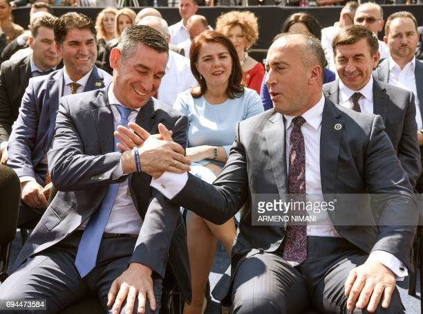 Leader of the Democratic Party of Kosovo and outgoing chairman of the assembly Kadri Veseli and leader of the Alliance for the Future of Kosovo and...