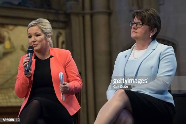 Leader of the Democratic Unionist Party Arlene Foster and Sinn Fein leader Michelle O'Neill attend a question and answer session on day three of the...