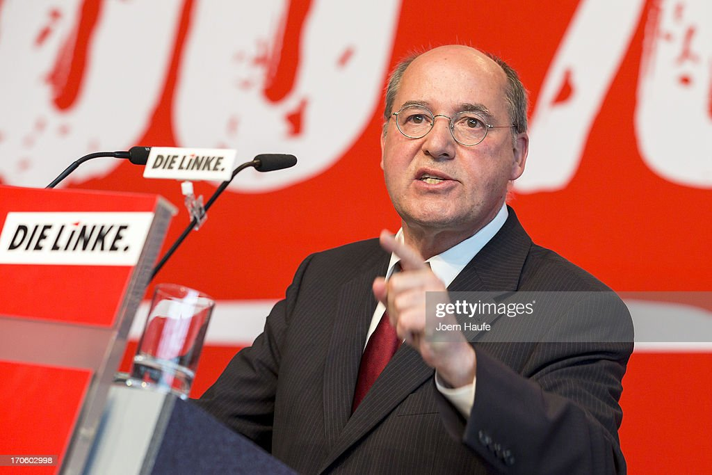 Leader of the Die Linke Bundestag faction, <a gi-track='captionPersonalityLinkClicked' href=/galleries/search?phrase=Gregor+Gysi&family=editorial&specificpeople=240410 ng-click='$event.stopPropagation()'>Gregor Gysi</a> speaks at the party's federal convention on June 15, 2013 in Dresden, Germany. Die Linke, Germany's main left-wing political party, are meeting to decide on their policy program for German federal elections scheduled for September.
