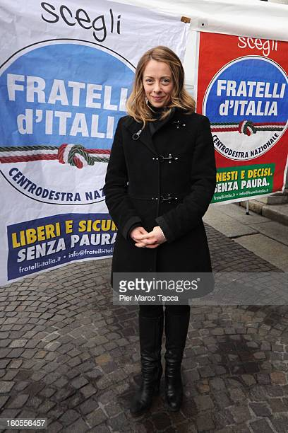 Leader of the 'Fratelli d'Italia' party and premier candidate Giorgia Meloni attends a public meeting at Palazzo della Borsa on February 2 2013 in...