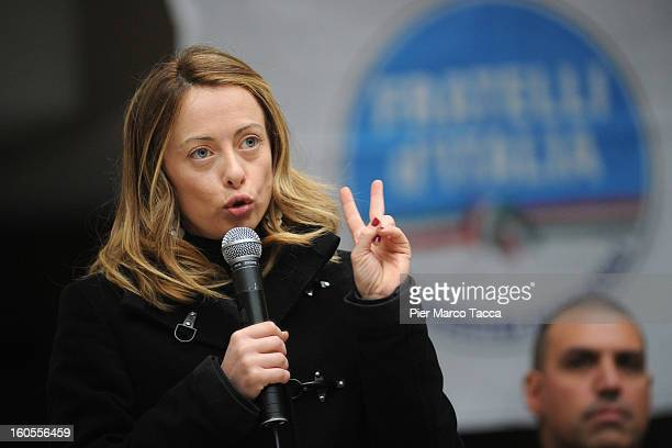 Leader of the 'Fratelli d'Italia' party and premier candidate Giorgia Meloni delivers a speech during a public meeting at Palazzo della Borsa on...