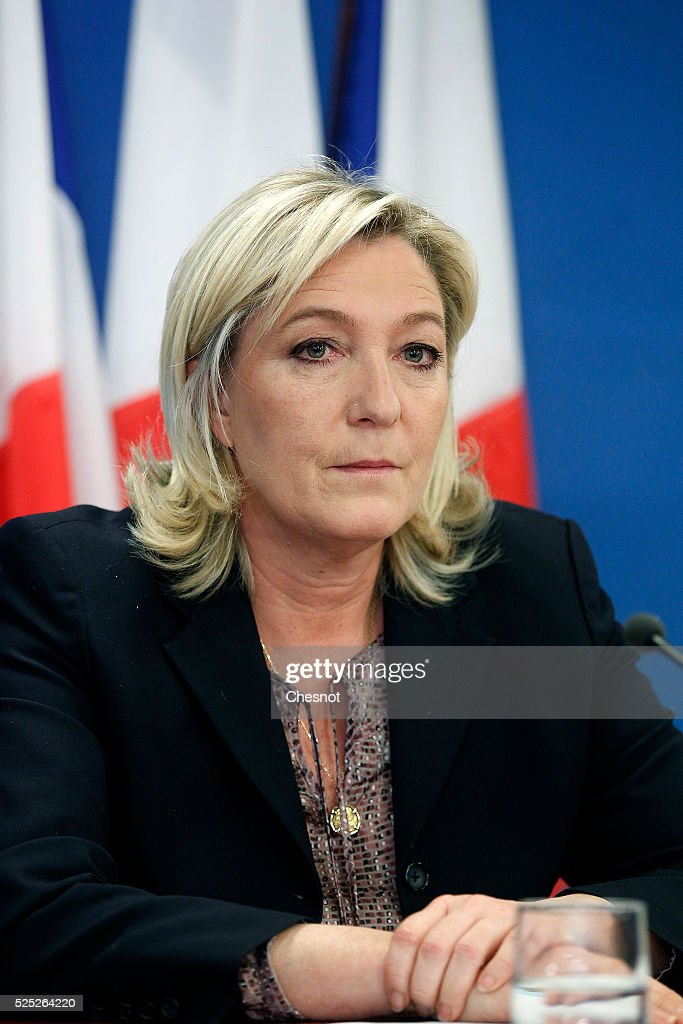 of the French far-right National Front (FN) party, Marine Le Pen ...