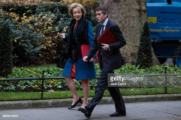Leader of the House of Commons Andrea Leadsom and Defence Secretary Gavin Williamson arrive for the weekly cabinet meeting at Downing Street on...
