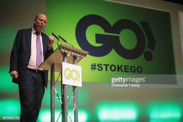 Leader of the House of Commons Chris Grayling attends a Grassroots Out rally at Victoria Hall on April 18 2016 in StokeonTrent England Campaigning is...