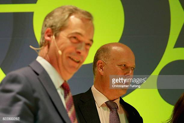 Leader of the House of Commons Chris Grayling of Vote Leave and and UKIP leader Nigel Farage attend a Grassroots rally at Victoria Hall on April 18...
