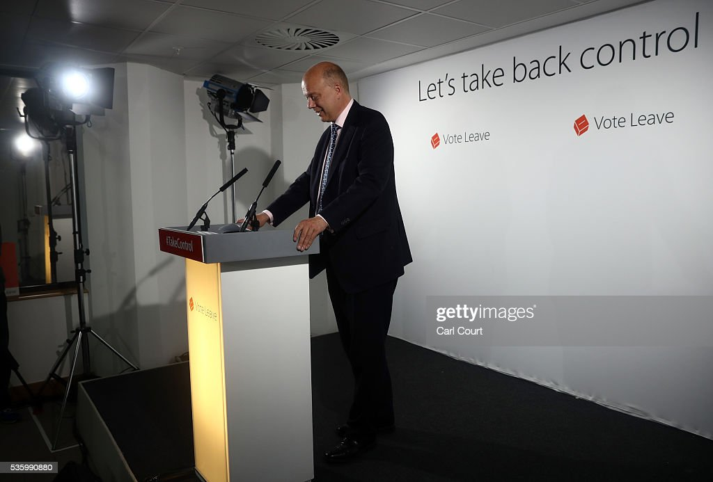 Leader of the House of Commons, Chris Grayling, pauses as he speaks during a Vote Leave press conference on May 31, 2016 in London, England. Campaigning continues by both sides ahead of the EU referendum on June 23rd.